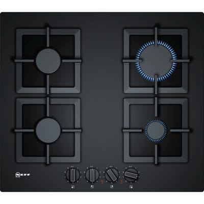 Neff T26CA42S0 N70 60cm 4 Burner Gas Hob Black Tempered Glass
