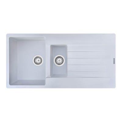 Reginox Harlem 15 1.5 Bowl Inset Sink & Drainer Pure White