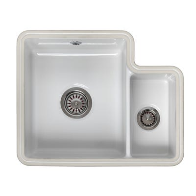 Reginox Tuscany 1.5 Bowl Undermount Ceramic Sink White