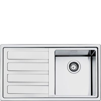 Smeg LD861S-2 Mira 1.0 Bowl Left Hand Drainer Inset Sink Stainless Steel