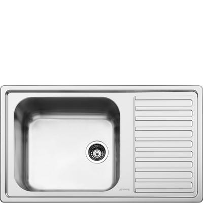 Smeg Alba 1.0 Bowl Right Hand Drainer Inset Sink Stainless Steel