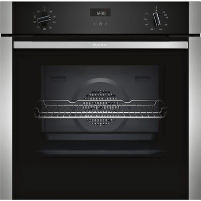 Neff B1ACE4HN0B N50 Built-In Single Oven Black With Steel Trim