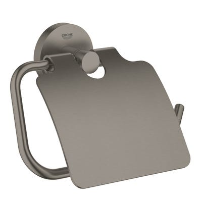 Grohe Essentials Toilet Roll Holder With Cover Brushed Hard Graphite