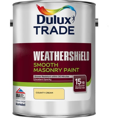 Dulux Trade Weathershield Smooth Masonry Paint Country Cream 5L
