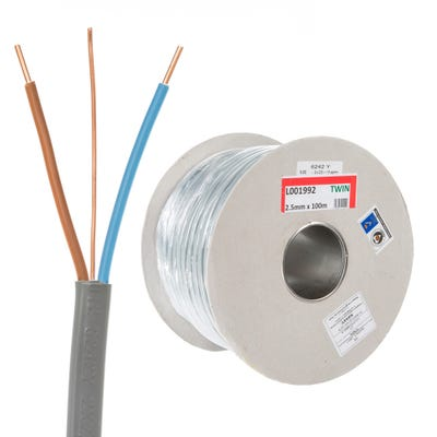 2.5mm Twin and Earth Cable 100m Drum 6242Y
