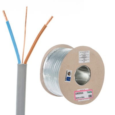 6mm Twin and Earth Cable 50m Drum 6242Y