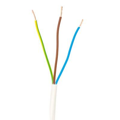 1mm 3 Core Flex Cable White 100m Drum 3183Y