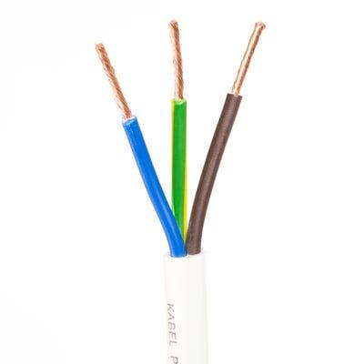 2.5mm 3 Core Flex Heat Resistant Cable White 50m Drum 3093Y