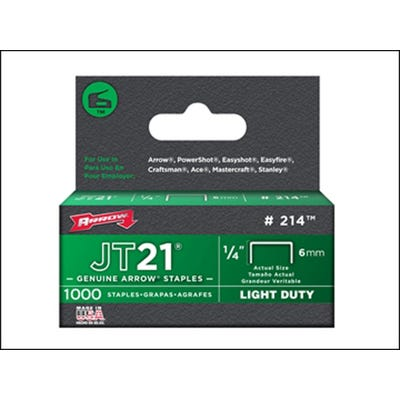 Arrow JT21 T27 Staples 6mm - Box of 1000