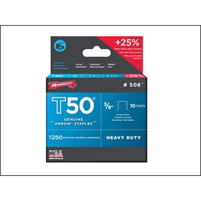 Arrow T50 Staples 10mm - Box of 1250