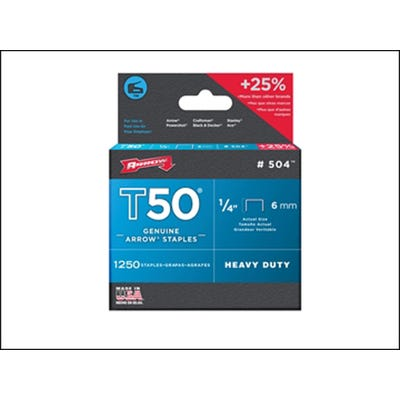 Arrow T50 Staples 6mm - Box of 1250