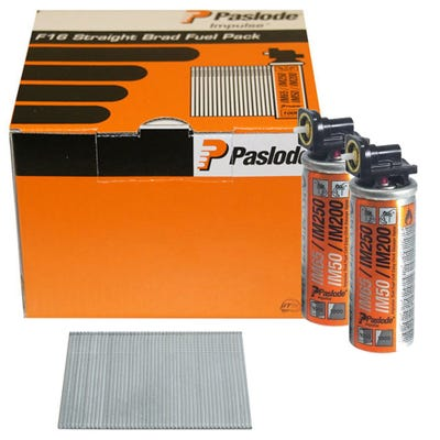Paslode 19mm Galvanised Straight Brads & Fuel Pack of 2000