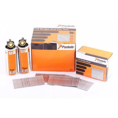 Paslode 38mm Galvanised Straight Brads & Fuel Pack of 2000