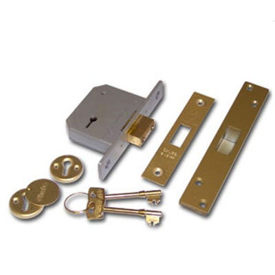 Union 5 Lever BS Deadlock 67mm Polished Brass