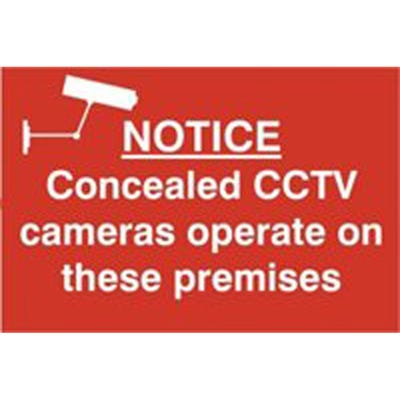 Concealed Cameras Operate Safety Sign 300mm x 200mm