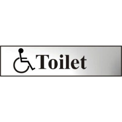 Disabled Toilet Sign in Chrome 200mm x 50mm