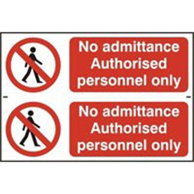 Authorised Personnel Only Safety Sign 300mm x 100mm Pack of 2