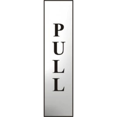 Vertical Pull Sign in Chrome 50mm x 200mm