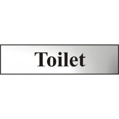Toilet Sign in Chrome 200mm x 50mm
