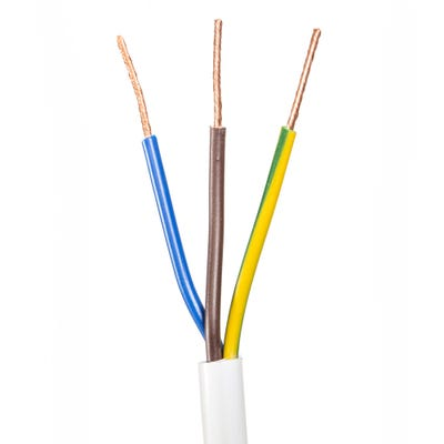 0.75mm 3 Core Flex Heat Resistant Cable White 50m Drum 3093Y