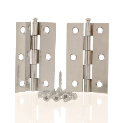 Butt Hinge Loose Pin 76mm Polished Chrome