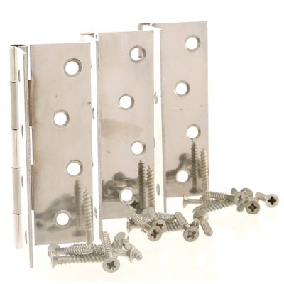 Butt Hinge Steel 100mm Polished Chrome