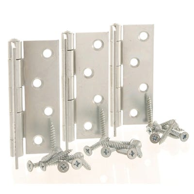 Butt Hinge 100mm Bright Zinc (Pack of 3)