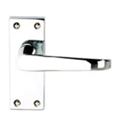Contract Victorian Straight Door Handle in Polished Chrome