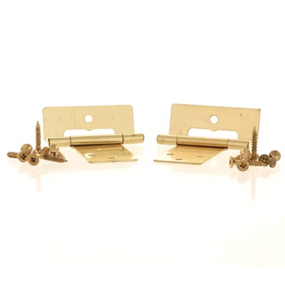 Cranked Flush Hinge Plated 50mm Plain Brass