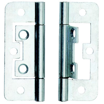 Flush Hinge Plate Steel 50mm Bright Zinc