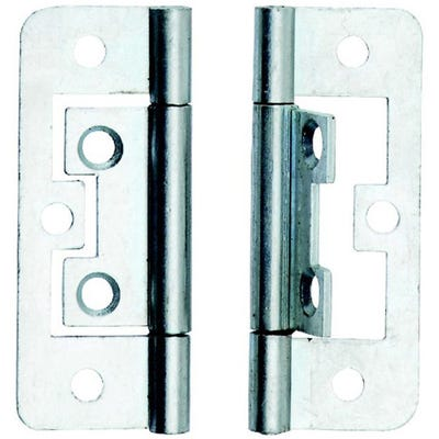 Steel Flush Hinge 63mm Bright Zinc
