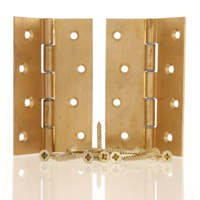 Double Washered Butt Hinge 100mm Plain Brass Pack of 2