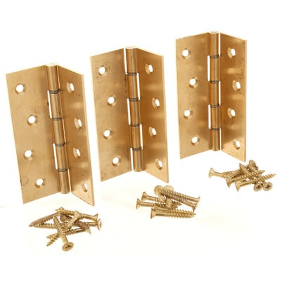 Double Washered Butt Hinge 100mm Plain Brass Pack of 3