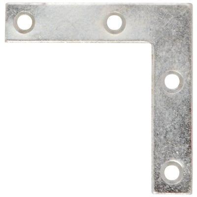 Corner Plates 100mm x 100mm x 18mm Bright Zinc Pack of 6