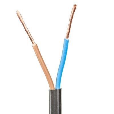 2mm 2 Core Flex Low Voltage Cable Black 100m Drum