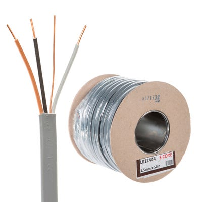 1.5mm 3 Core and Earth Cable 50m Drum 6243Y