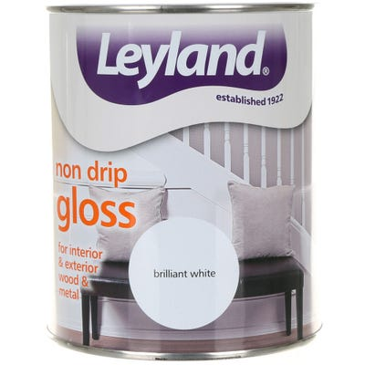 Leyland Non Drip Gloss Paint Brilliant White 750ml