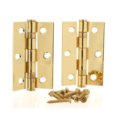 Ball Bearing Hinge 76mm Polished Brass