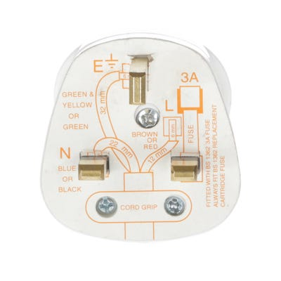 13A Plug White With 3A Fuse Fitted PT13W