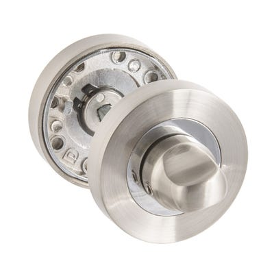 Thumbturn & Release on Round Rose Satin Nickel & Polished Chrome
