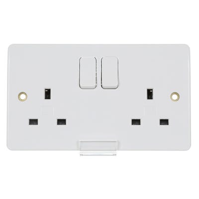 MK 13A 2 Gang DP Switched Socket K2747WHI