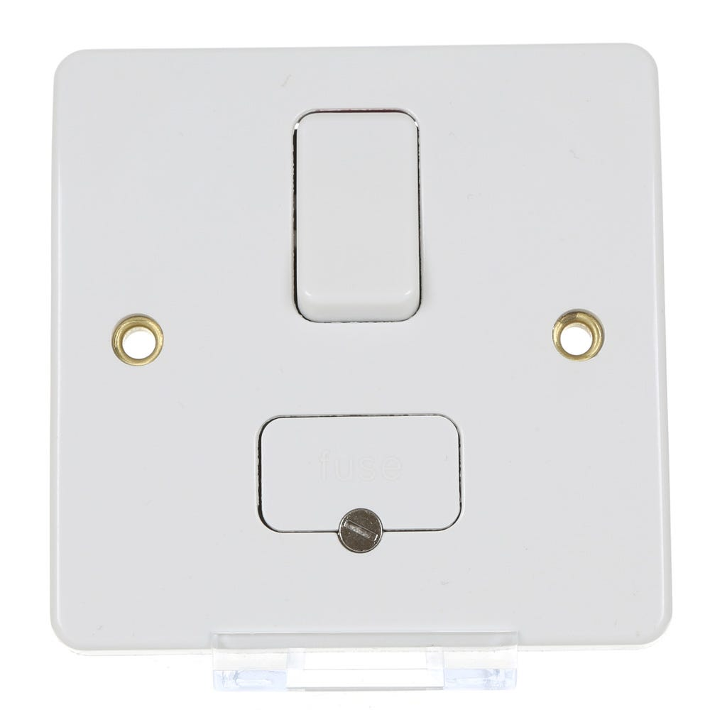 Square Edge 1 Gang Appliance Wall Switch 13A White Single Fused Switched Spur