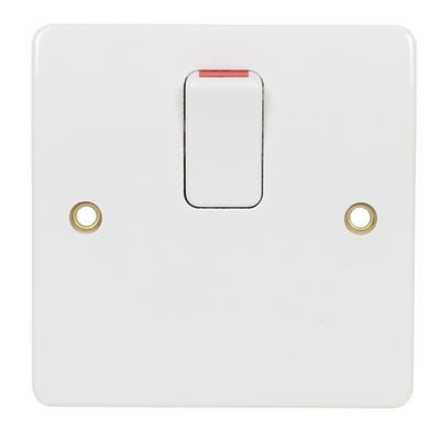 MK 20A Double Pole Switch with Base Flex Outlet K5403WHI