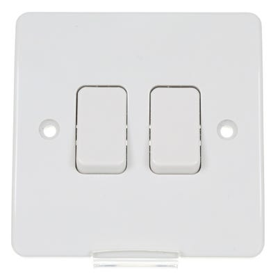 MK 10A 2 Gang 2 Way Light Switch White K4872WHI