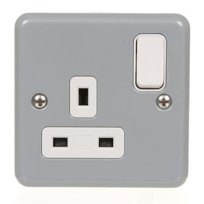MK Metal Clad Plus 1 Gang Switch Socket K2977ALM