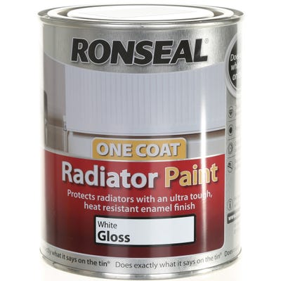 Ronseal One Coat Radiator Paint White Gloss 750ml