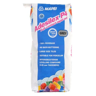 Mapei Adesilex P4 Full Contact Rapid Set Adhesive For Large Size Tiles Grey 20Kg