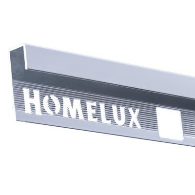 Homelux 9mm Silver Square Edge Metal Tile Trim 2.5m