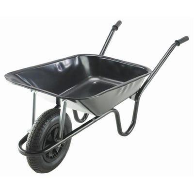 Walsall 85L Black Contractor Wheelbarrow Includes Pneumatic Tyre