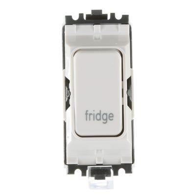 MK 20A Double Pole 1 Way Grid Plus Switch Module printed 'Fridge' K4896FGWHI